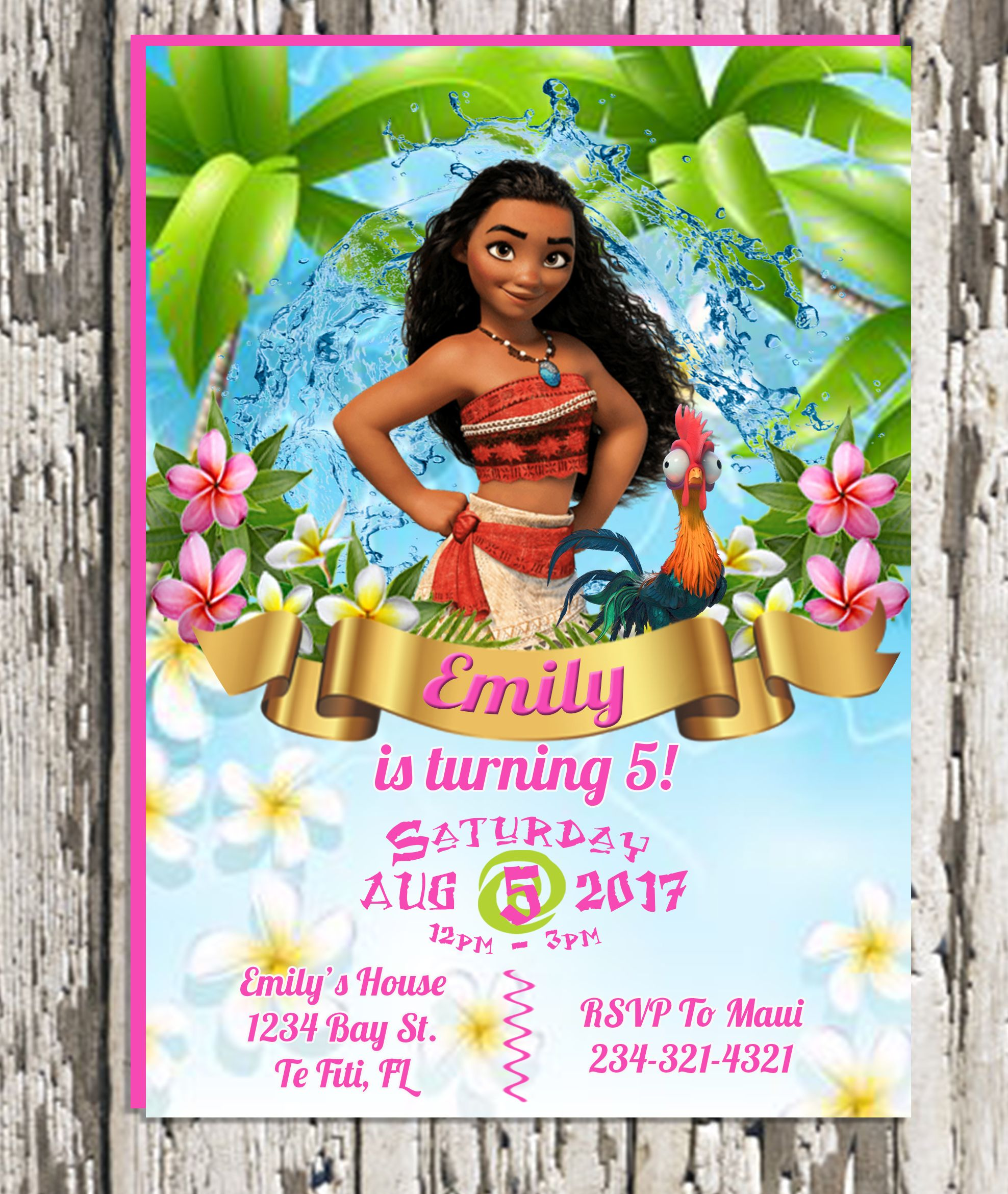 Moana And Hei Birthday Invitation Digital Download Or Printed Order Prints Online