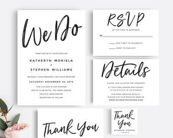 Printable Wedding Invitation Set | Black and White Rustic Wedding Invitation Suite | Elegant Wedding Invitations Template | Instant Download