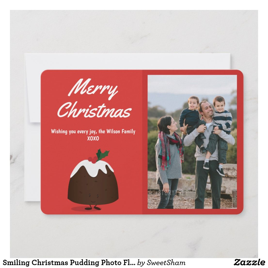 Smiling Christmas Pudding Photo Flat Holiday Card Zazzle Com Holiday Design Card Merry Christmas Wishes Holiday Cards