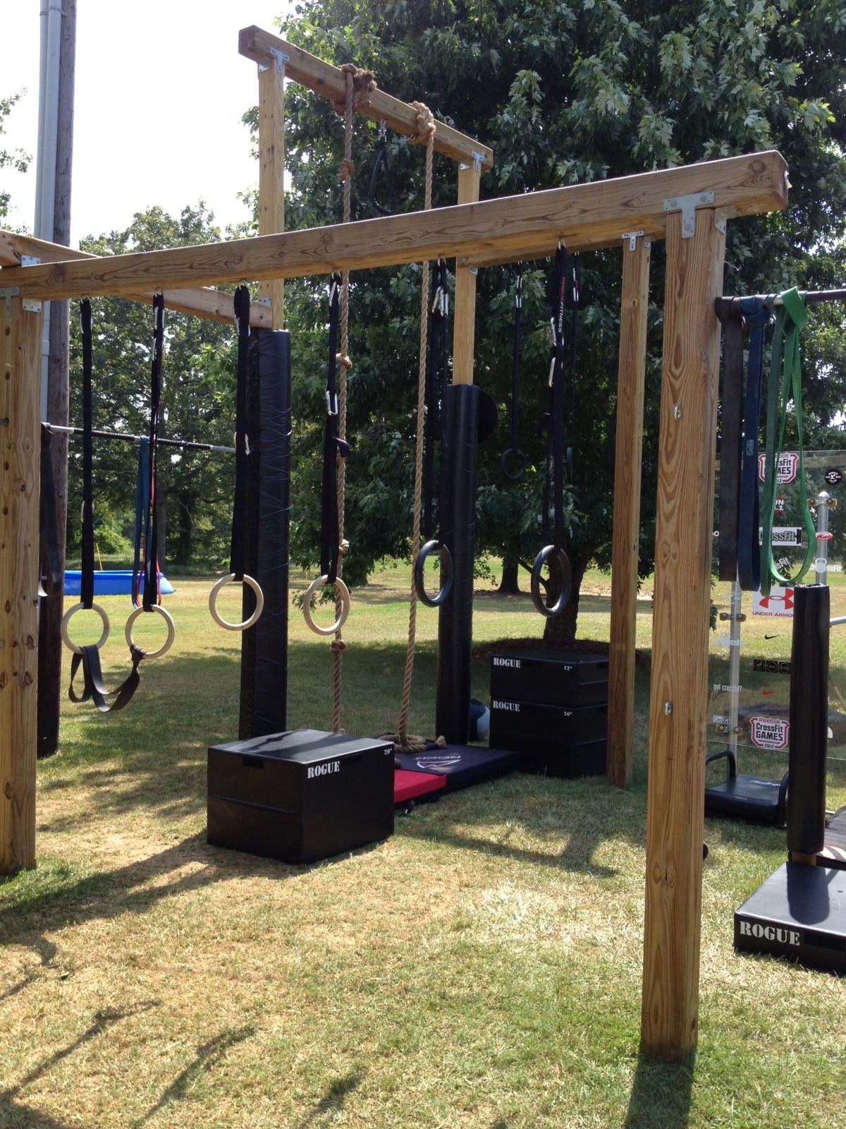 Rings for dips | Backyard gym, Outdoor jungle gym, Decks ...