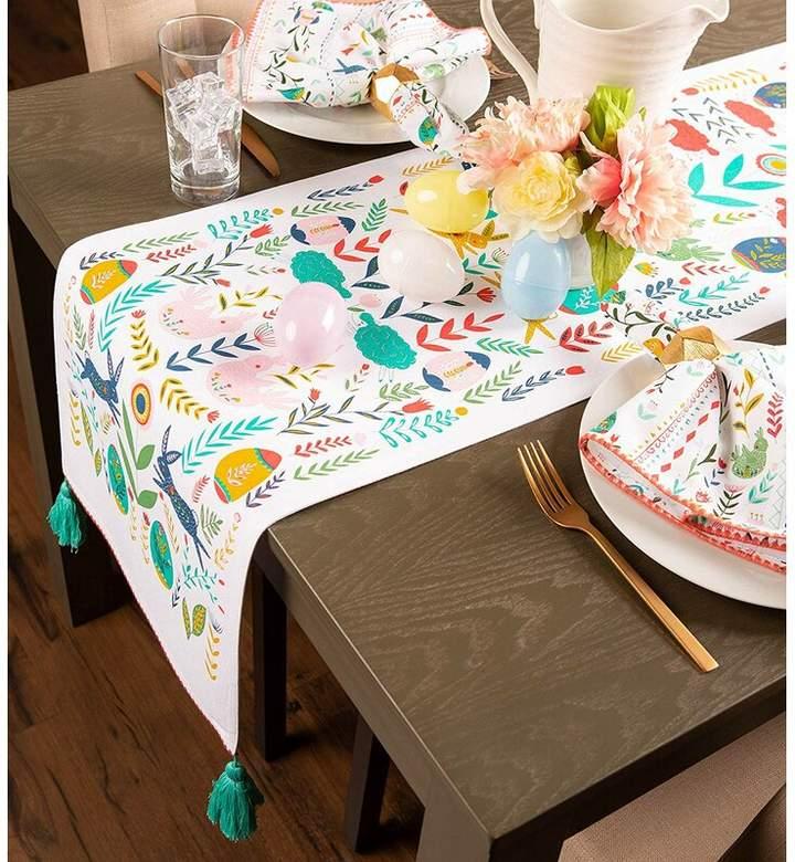 Design Imports Easter Folk Garden Embellished Table Runner Easter Table Decorations Indoor Holiday Decor Easter Table