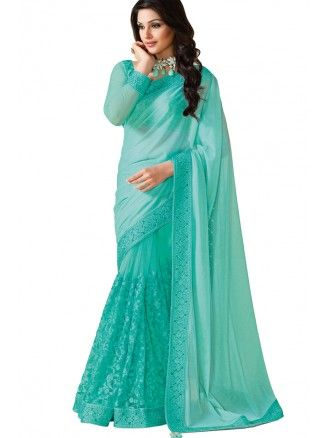 Mint Green Half Lycra Half Nett Saree