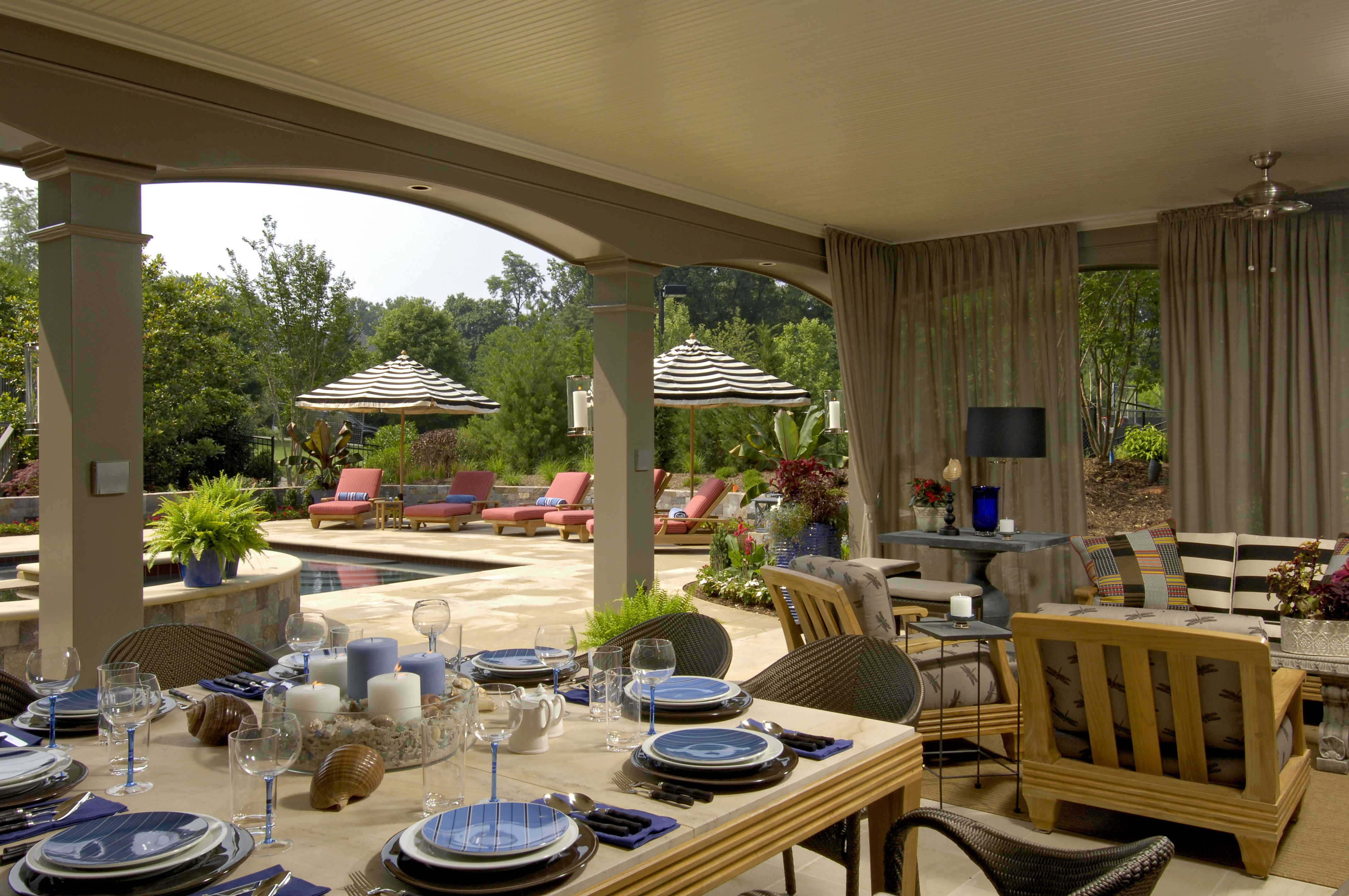 Pool House Patio Dining Area Outdoor Dining Couch Chairs