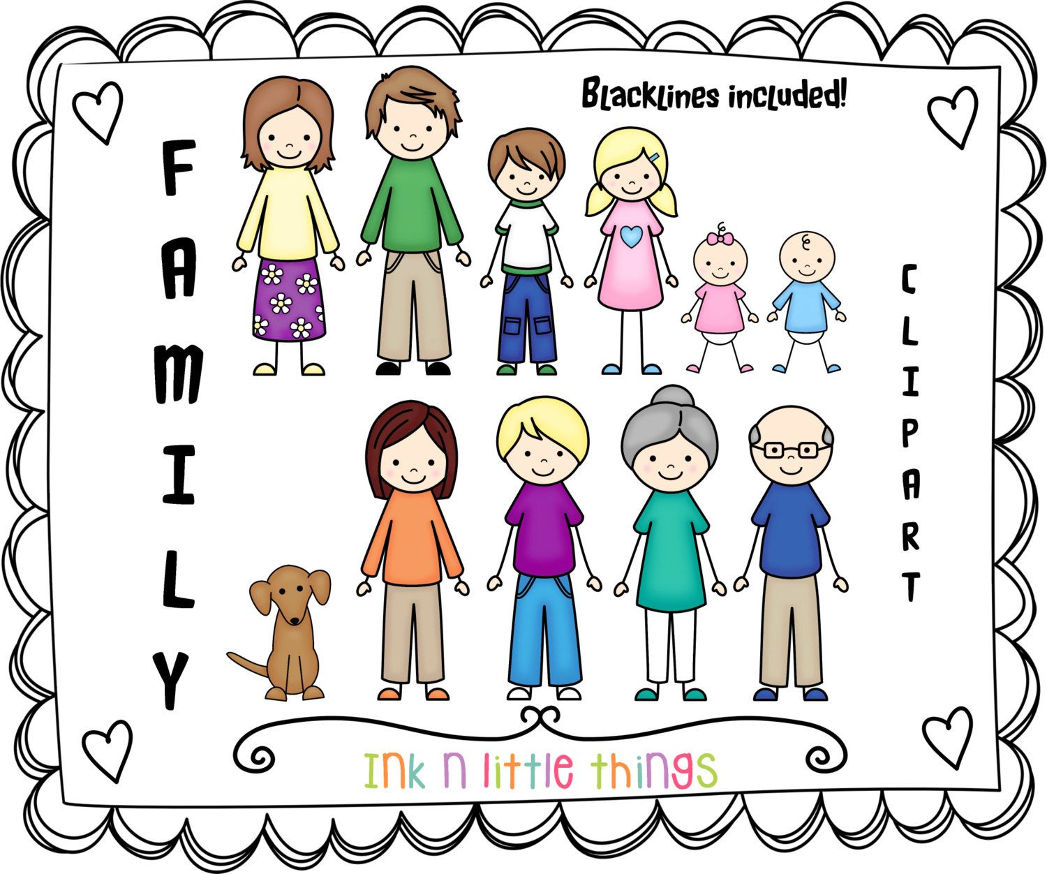 Kids Clipart My Family Clip Art Set 1 by InknLittleThings
