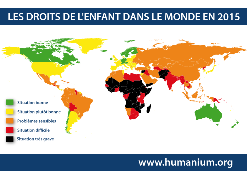 carte des droits de l 39 enfant dans le monde en 2015. Black Bedroom Furniture Sets. Home Design Ideas