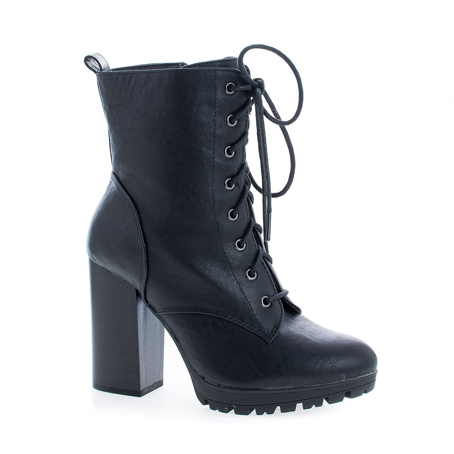 Lace Up Lug Sole Platform Block High Heel Combat Boots   For more  information 4374378336