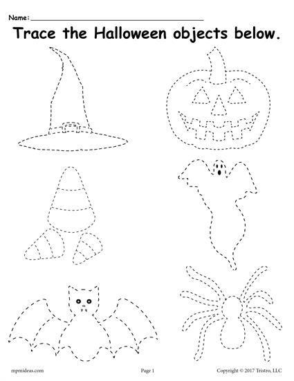 free printable halloween tracing worksheet worksheets activities lesson plans for kids. Black Bedroom Furniture Sets. Home Design Ideas