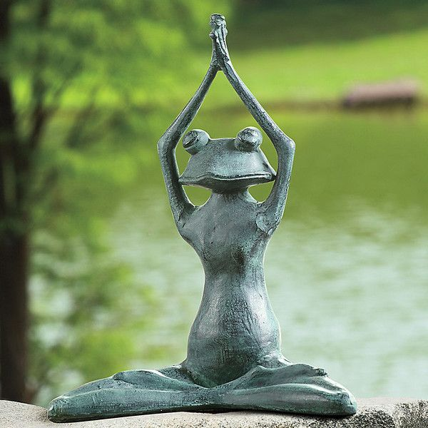 Stretching Yoga Frog (u20ac85) ❤ Liked On Polyvore Featuring Home, Outdoors,.  Frog StatuesGarden ...