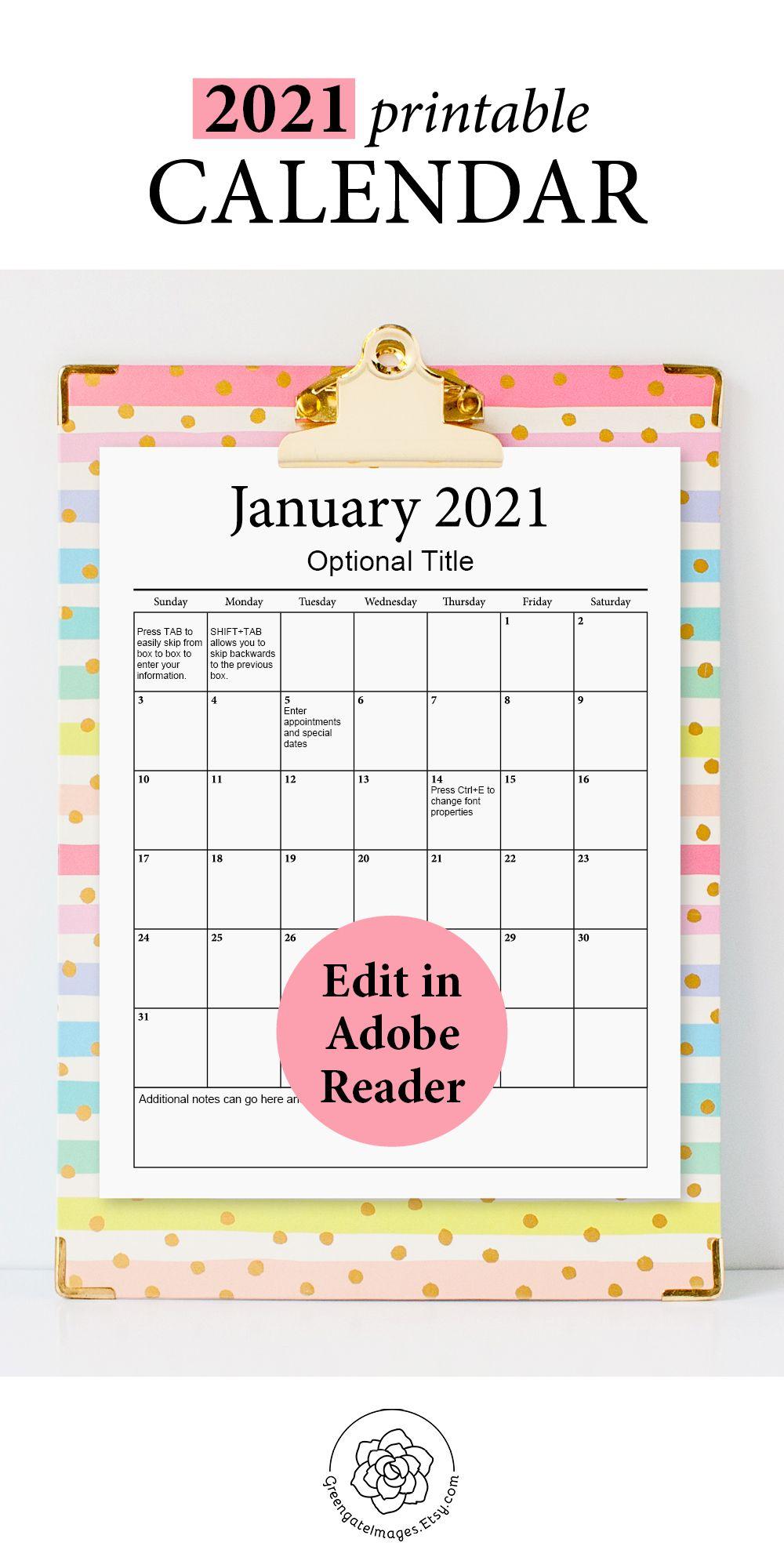 2021 Printable Calendar - fillable planner, editable pdf ...