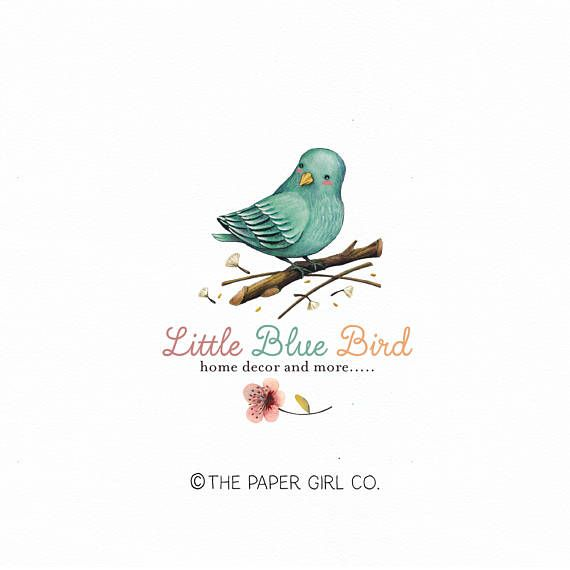 Blue Bird Logo Home Decor Logo Photography Logo Boutique Logo Etsy Shop Logo Nature Logo Watercolor Logo Premade Logo Baby Boutique Logo