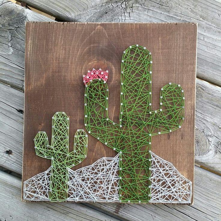 Custom string art cactus sign by Blossomingburlap on etsy
