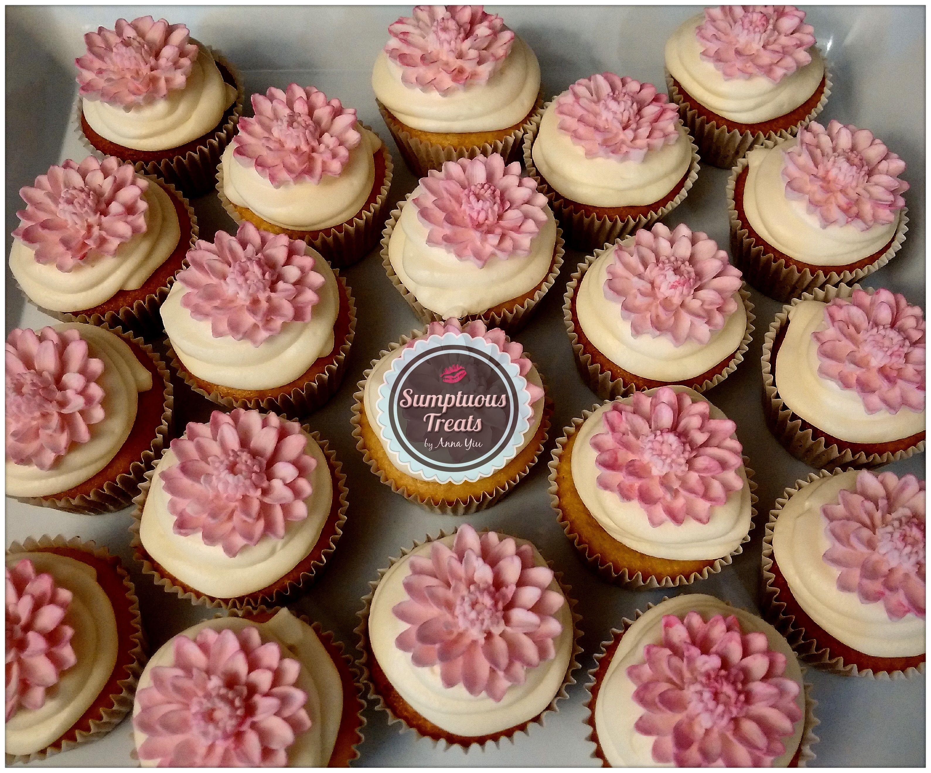 Pink Lotus Flower Cupcakes CustomMadeToOrder Cakes Desserts