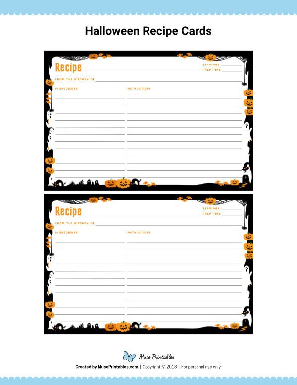 Free Printable Halloween Recipe Cards The Cards Are Editable In Adobe Reader Downloa Recipe Cards Printable Free Recipe Cards Template Printable Recipe Cards