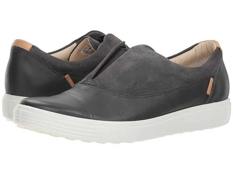 Ecco Soft 7 Slip On Ii Women S Slip On Shoes Dark Shadow Moonless Leather Nubuck Women S Slip On Shoes Slip On
