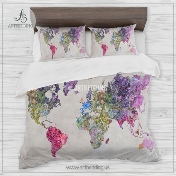 Abstract Colorful Painting World Map Bedding Bohemian Wanderlust World Map Duvet Cover Set In Purple Ping And Green Modern Wanderlust World Map Comforter Set Bed Linens Luxury Comforter Sets Duvet Cover