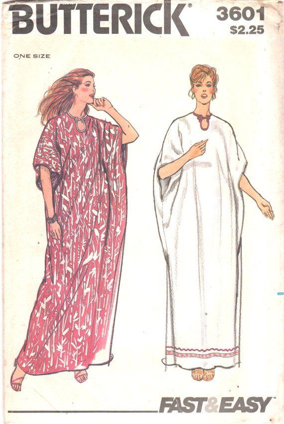 Butterick 3601 1970s Easy CAFTAN Pattern  Dolman Sleeve Keyhole Neck One Size Womens Vintage Sewing Pattern UNCUT