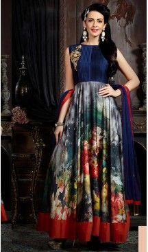 843072e7c3 Navy Blue Color Satin Party Wear Gowns
