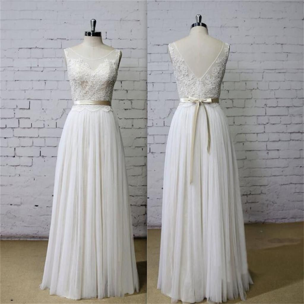 Dresses for summer wedding reception  Long Aline Scoop V Back Lace Simple Pretty Beach Summer Tulle