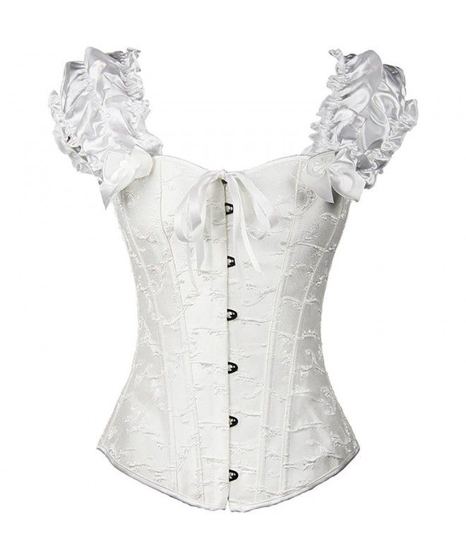 676d7bbf99b Women s Lace Up Boned Plus Size Overbust Corset Bustier Bodyshaper Top -  White - CS12NFH4JJQ