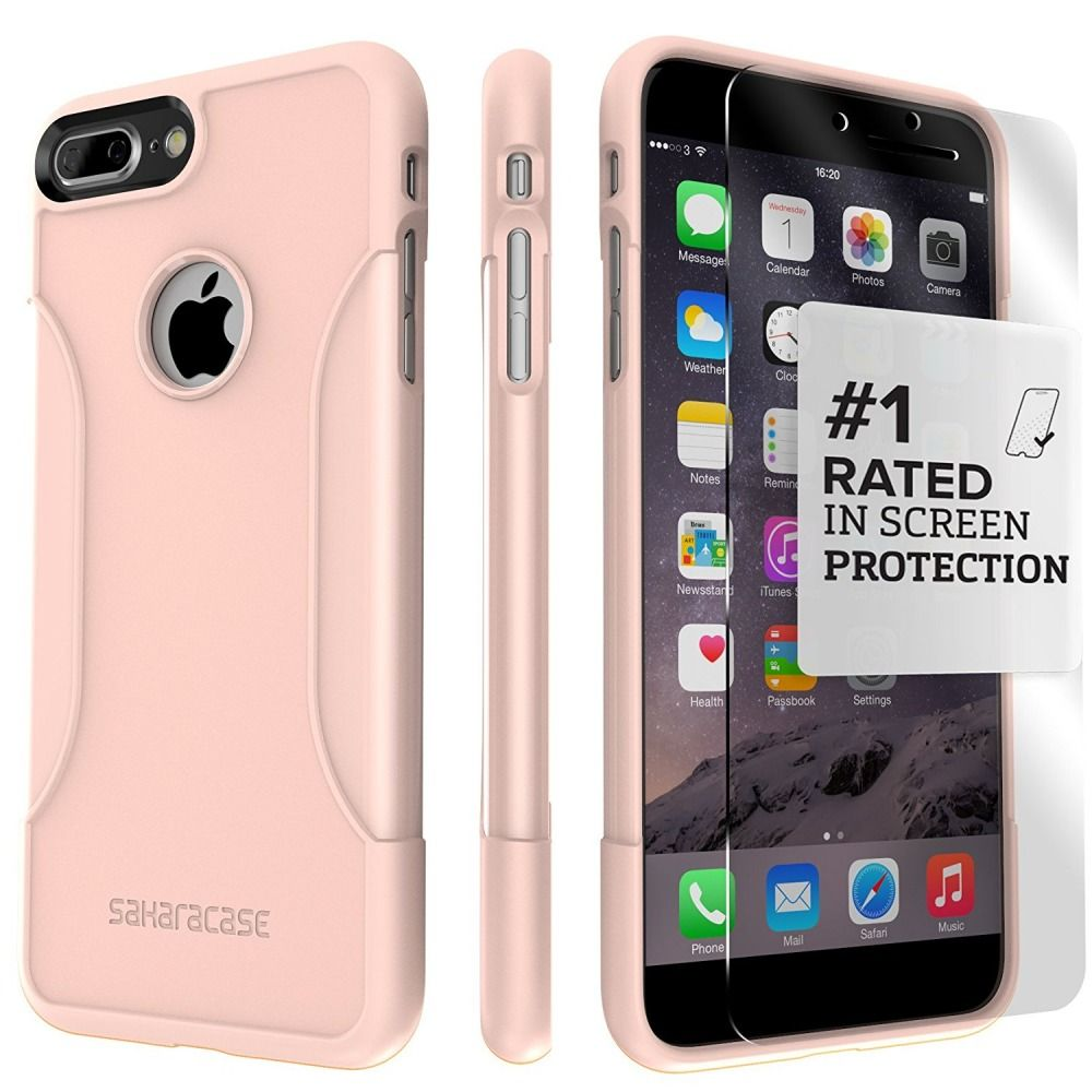 Saharacase iphone 6 6s crystal clear case rose gold edge saharacase - Iphone 7 Plus Case Saharacase Protective Kit Bundle With Tempered Glass Screen