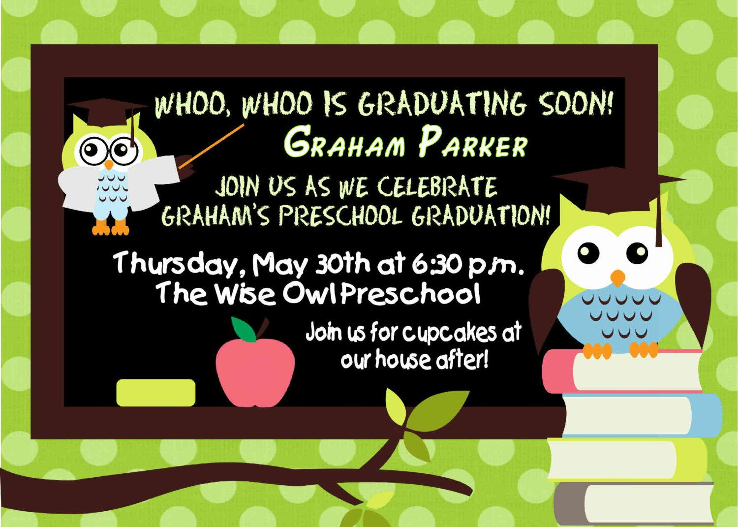 DIGITAL Preschool Kindergarten Wise Owl Graduation Invitation