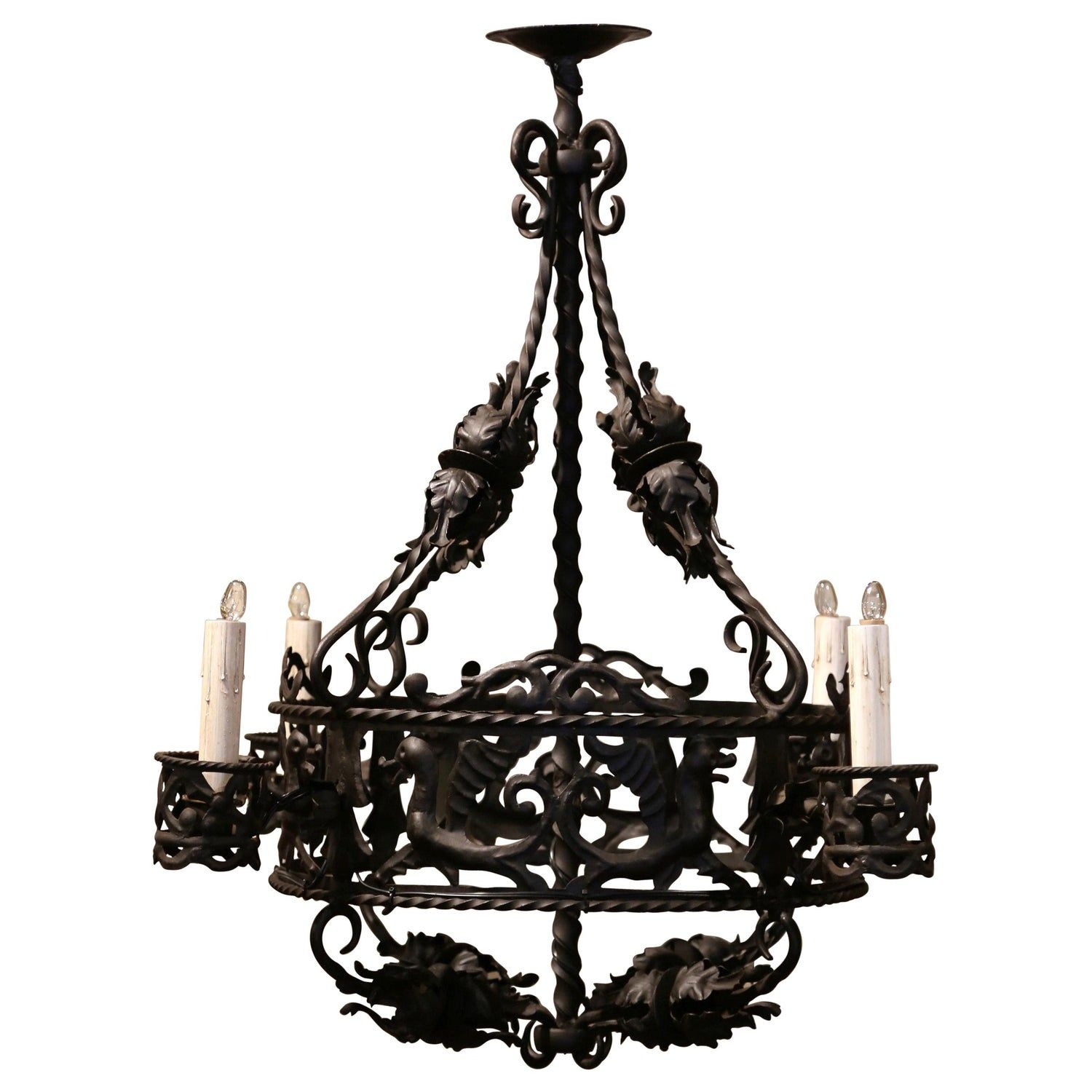 19th Century French Gothic Black Wrought Iron Four Light