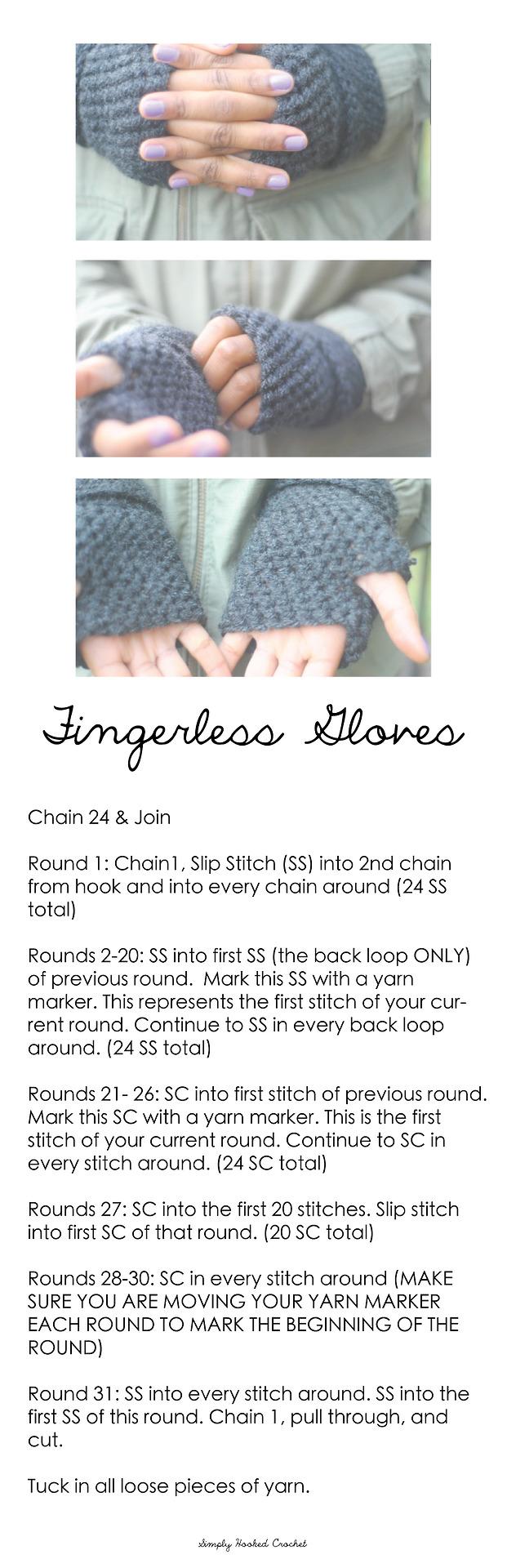 fingerless gloves crochet pattern & video