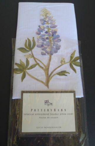 Pottery-Barn-Boudoir-Pillow-Cover-Embroidered-Botanical-Flower-12-X-16-New