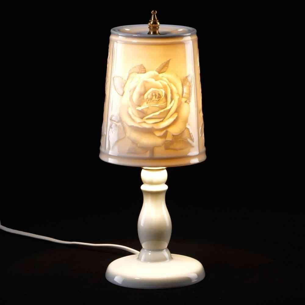 Plaue Porzellan Lithophanie Leuchte Rosen Porzellan Rosen Glasieren