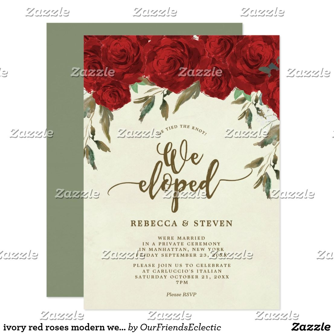 ivory red roses modern we eloped invitation #weeloped ...