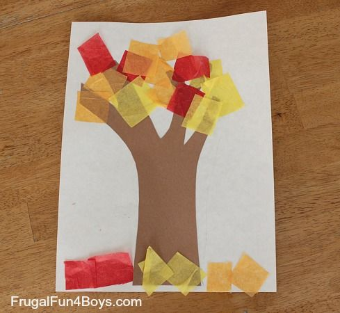 Fall Tree Art with Tissue Paper Leaves #falltrees