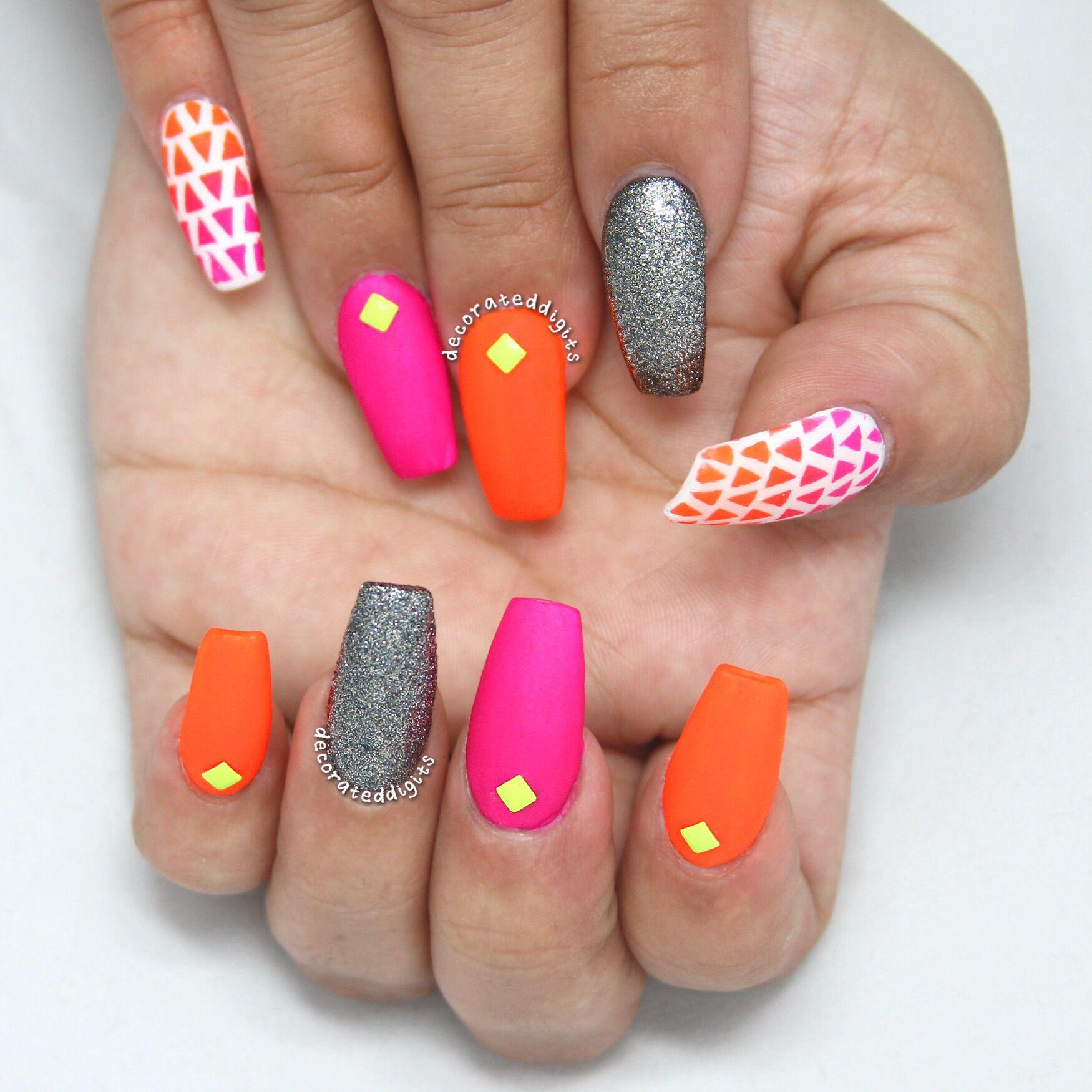 Matte neon coffin nails by decorateddigits | decorateddigits | Pinterest