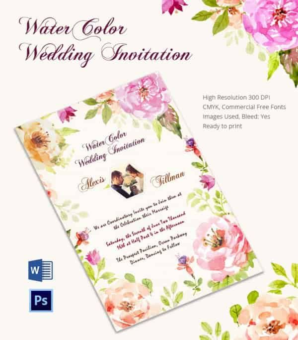 Creative Water Color Wedding Invitation Card Template Invitations - Card template free: online wedding invitation cards templates