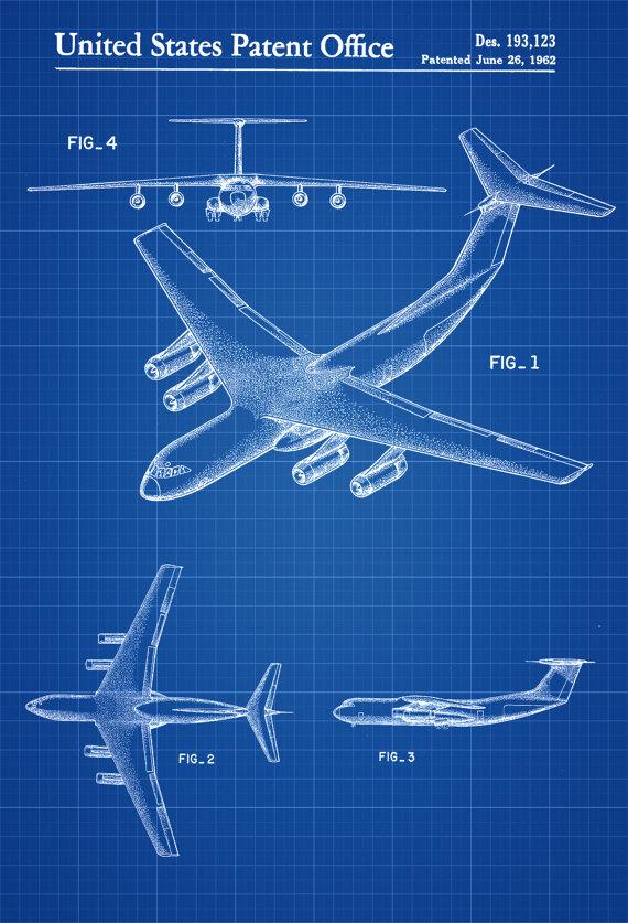 Lockheed C 141 Airplane Patent Airplane Blueprint Pilot Etsy Blueprints Lockheed Patent Prints