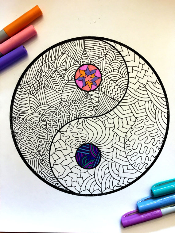 Yin Yang PDF Zentangle Coloring Page
