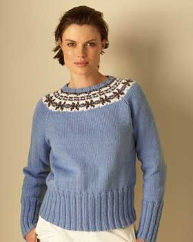 A simple fair isle design on the yoke of this sweater makes a ...