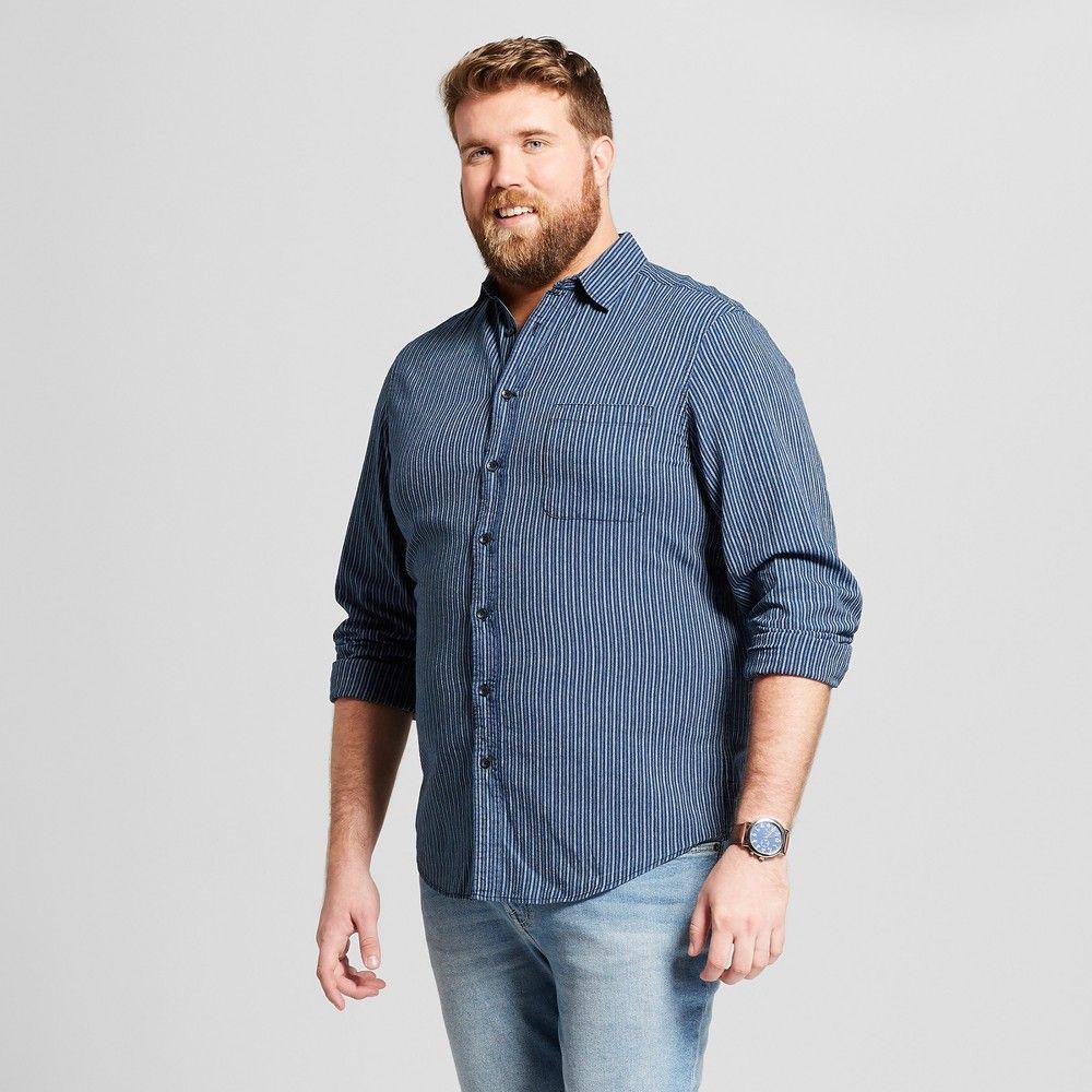 4e5052df864 Men s Big   Tall Striped Standard Fit Long Sleeve Denim Button-Down Shirt -  Goodfellow   Co Jamestown Blue 3XB