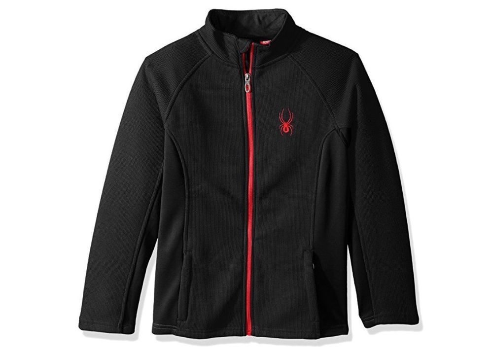 42078a7fe NWT Spyder Boys Youth Central BLACK RED Full Zip Sweater Jacket Size ...