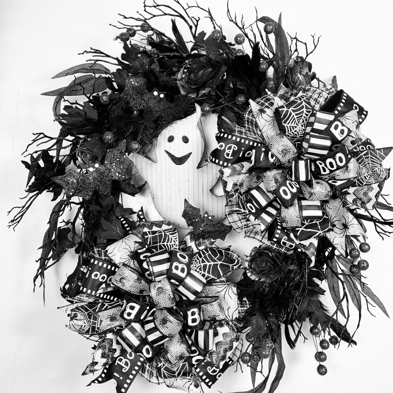 Halloween Ghost Wreath, Halloween Wreath, Halloween wreath