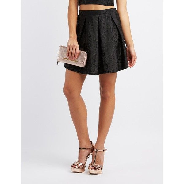 Charlotte Russe Shimmer Pleated Skater Skirt ($23) ❤ liked on Polyvore featuring skirts, black, charlotte russe, metallic skater skirt, knit skirt, circle skirt and metallic pleated skirt