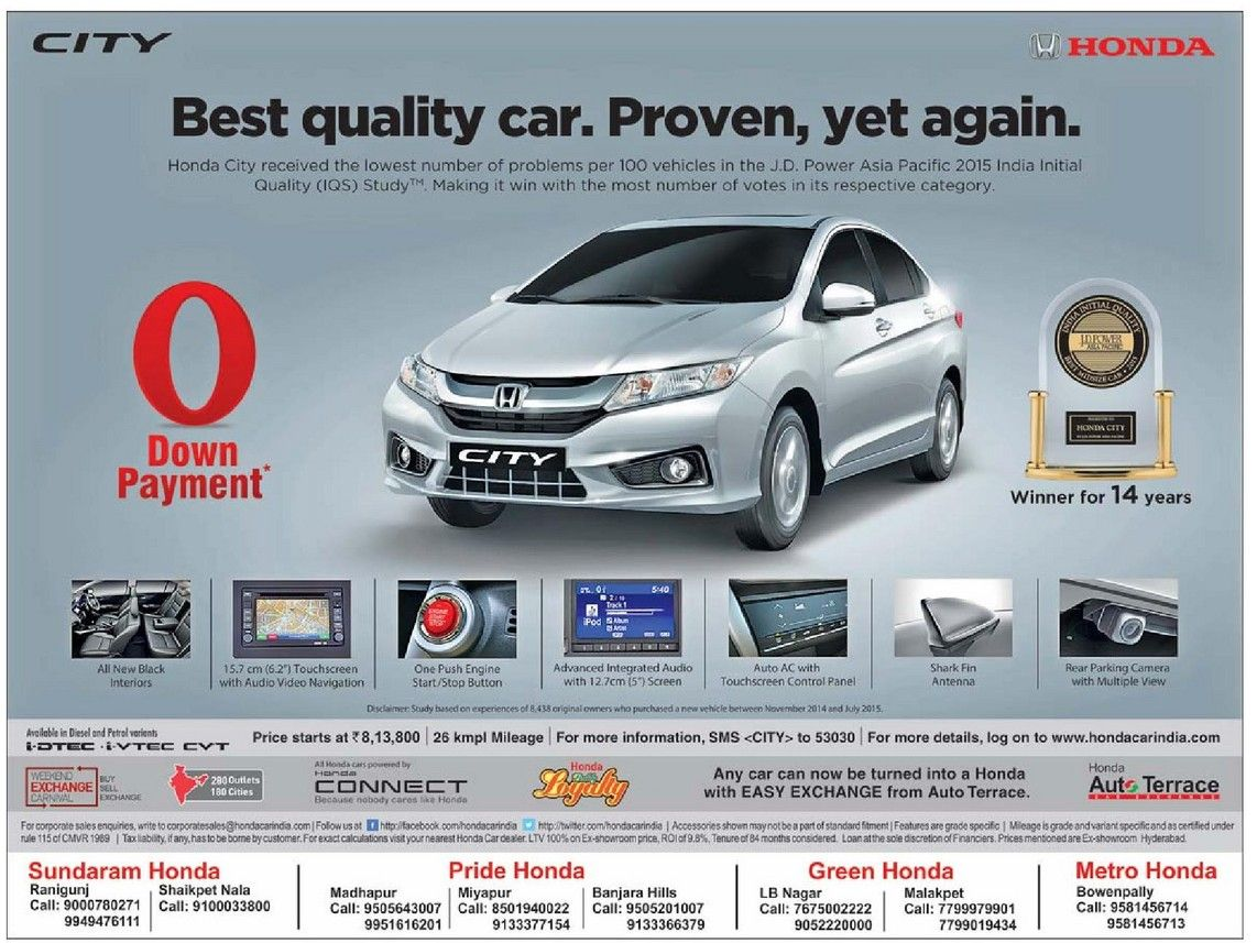 0 Down Car >> Honda City Zero 0 Down Payment March 2016 Discount Offer