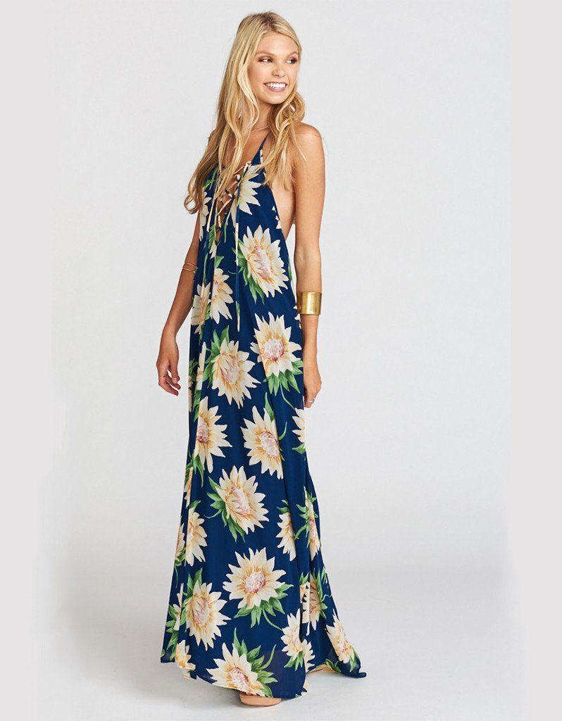 Show Me Your Mumu Logan Lace Up Maxi In Sunflower Dreams Cute Maxi Dress Boho Chic Fashion Festival Fashion [ 1024 x 798 Pixel ]
