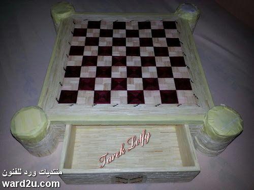 شطرنج على شكل قلعة من أعواد الكبريت Decorative Tray Chess Board Decor