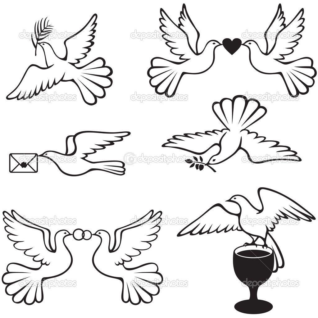 Tarjeta con encaje y palomas. Tutorial con plantillas.   Proyectos ...
