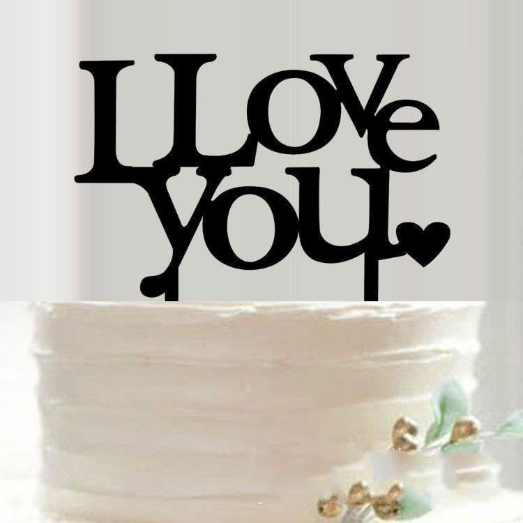 Love Acrylic White Gloss Engagement Wedding Cake Topper