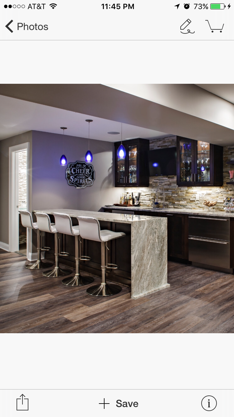 Finished Wet Bar With Waterfall Countertop And Nice Details Waterfall Countertop Home Projects Home