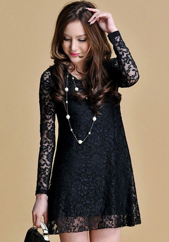 Black Lace Hollow Out Long Sleeve Loose Fitting Party Dress