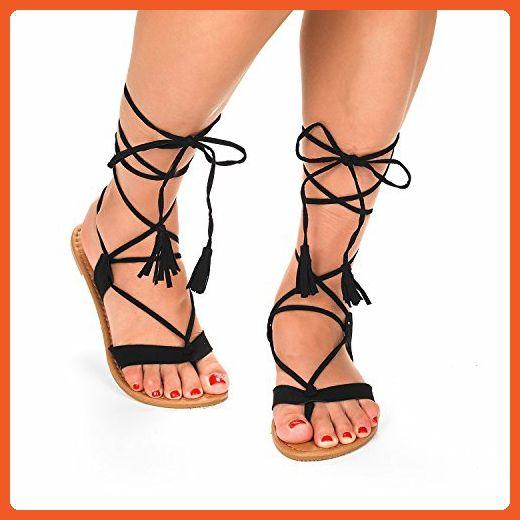 157b4ed4443b DREAM PAIRS SAMMY New Women Fashion Crisscross Lace Up Summer Gladiator  Design Flat Sandals BLACK SIZE 8 - Sandals for women ( Amazon Partner-Link)