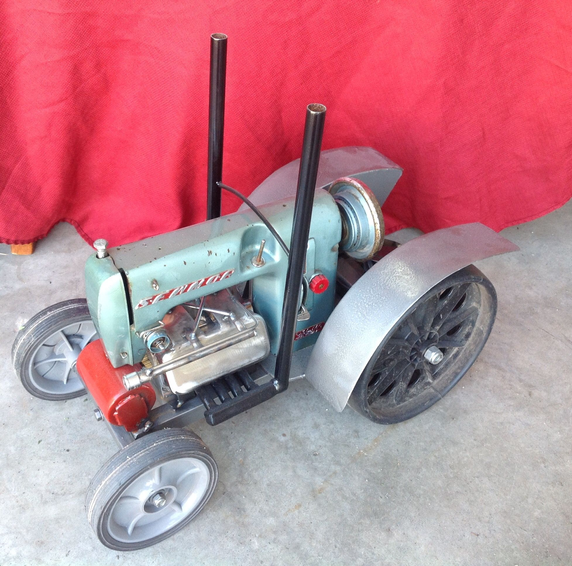 Tractor made with old sawing machine and other odds and ends