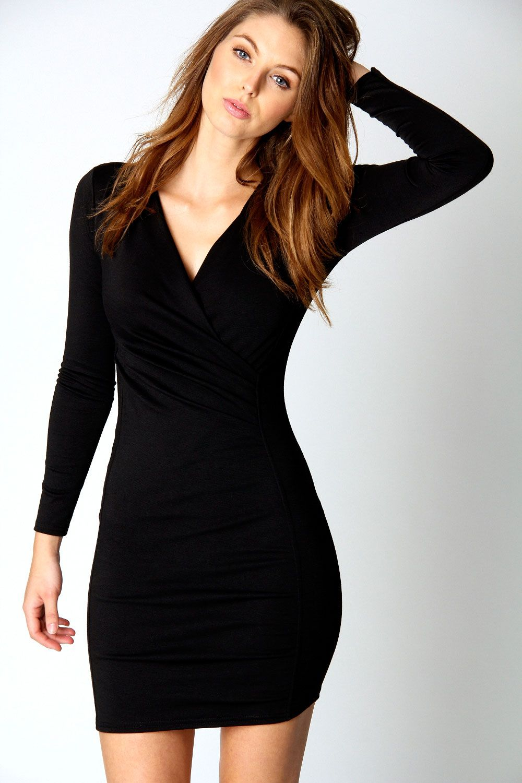 Wrap dress black long sleeve